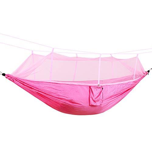 DaiHan Hamaca portátil con mosquitera, Hamaca Colgantes portátil paracaidas Nylon con Cremallera mosquiteros para Jardín Rosado M
