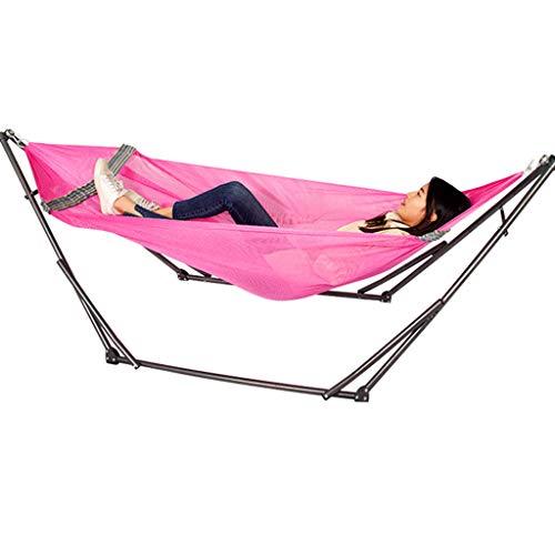 WERT Camping Outdoor hangmat Portable Klaphangmat Lounge met stalen frame Stand en Handtas Hangmat voor tuin en terras
