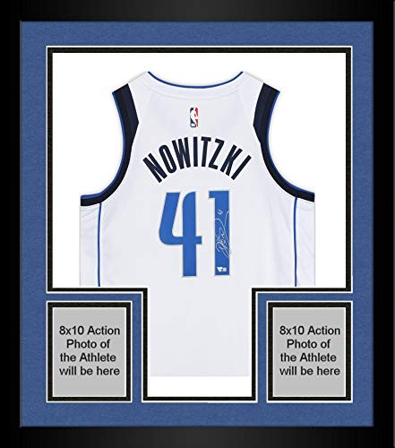 Framed Dirk Nowitzki Dallas Mavericks Autographed White Nike Swingman Jersey - Autographed NBA Jerseys