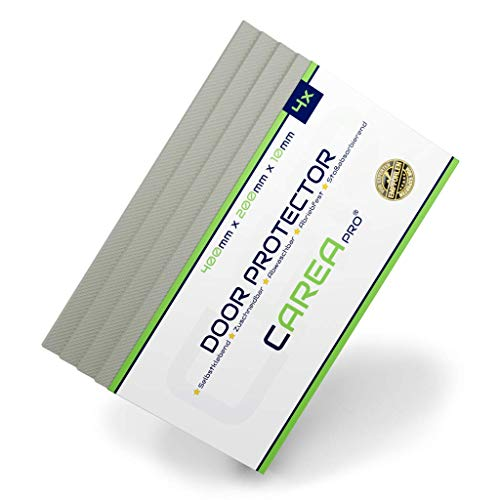 CAREApro ® Premium Garagen-Wandschutz | 4er Pack | Extra Stoßfest | Natur-Grau | 40cm x 20cm x 1cm | Selbstklebender Türkantenschoner
