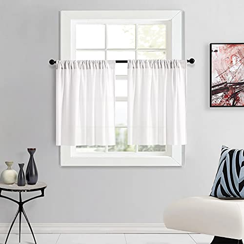 Tier Curtains Soft Sheer Kitchen Tiers 25 x 30 inch Privacy Semi Sheer Cafe Curtains Short Bathroom Half Window Curtains Basement 2 Panels Pole Top Light Grey