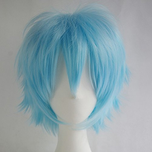 S-noilite Unisex Cosplay Short Pixie Fluffy Straight Hair Wig Women Men Anime Party Dress Costume Hairstyle Synthetic Wigs Light Blue