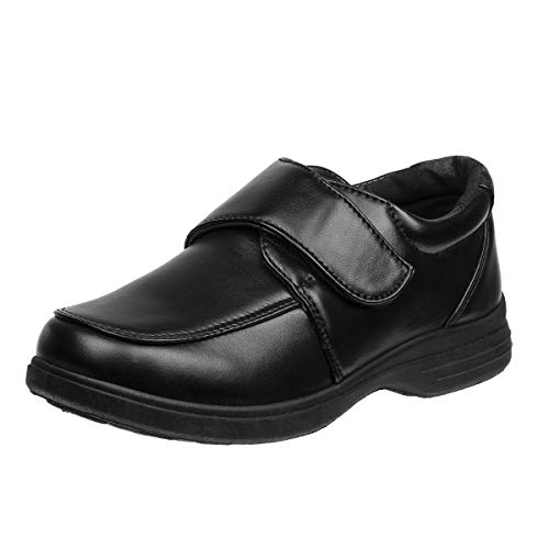 JOSMO Boys Comfort School Uniform Shoes (12 M US Little Kid, Black-Strap)'