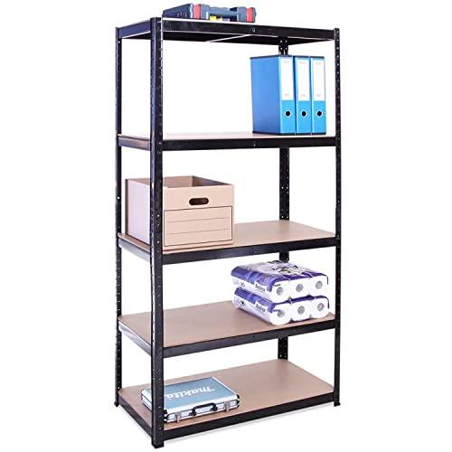 Rangement Garage: 180 cm x 90 cm x 45 cm | Noir - 5 Niveaux | 175 kg par tablette (Capacité Totale de 875 kg) | Garantie de 5 ans