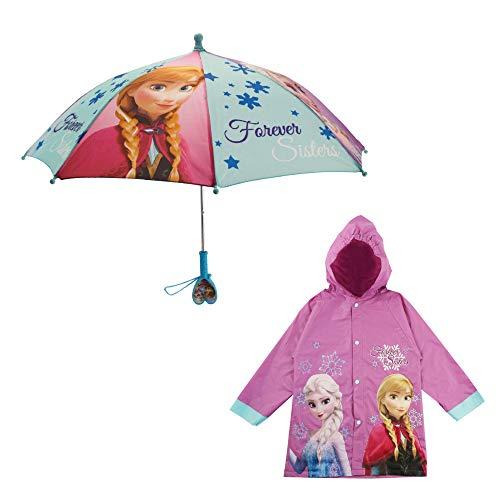 Disney Frozen Umbrella and Slicker Set, Elsa and Anna Little Girl Rainwear Ages 2-7, Dark Purple, LARGE, AGE 6-7