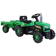 Dolu Charles Bentley Kids Children's Ride On Tractor with Trailer - Working Horn Vibrant Design in G...