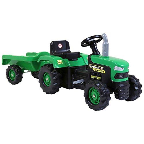 Charles Bentley Dolu Enfants Ride on Tracteur avec Remorque en Vert Corne De Travail Vibrant - 3+ Ans