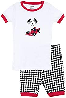 Image of Fun Checkered Flag Race Car Pajama Shorts Set for Boys and Toddlers - See More
