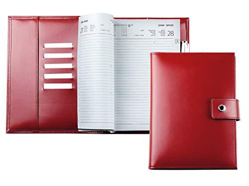 DELMON VARONE – Calendario personalizzato DIN A5 2021 in cambridge Top Grain pelle rossa – Organizer agenda tascabile (1 giorno 1 pagina) con bottone a pressione, passante per penna e scomparti