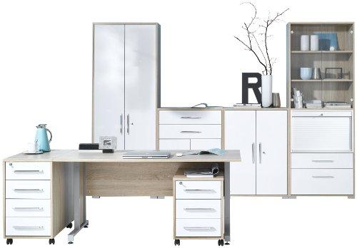 MAJA-Möbel 1202 2556 Büroprogramm SYSTEM, Sonoma-Eiche-Nachbildung - weiß Hochglanz