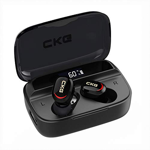 Wireless Earbuds with Power Bank CKG Bluetooth 5.0 Headphones with Build-in Microphone Digital LED Display 3350mAh Charging Case with 250H Playtime,Touch Control with Mono&Stereo Modes,USB-C Charging