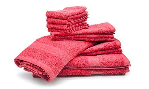 Bassetti Juego de 10 toallas de rizo 100% algodón (coral)
