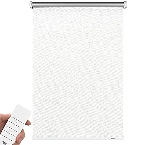 Kirsch Innovation Modern Elektrorollo mit Akku - Schraubmontage, Wand, Decke und Nische - Thermo, Hitzeschutz, Lichtundurchlässig, Blickdicht, elektrisches Rollo (52 x 180 cm (B x L), Streifen Weiß)