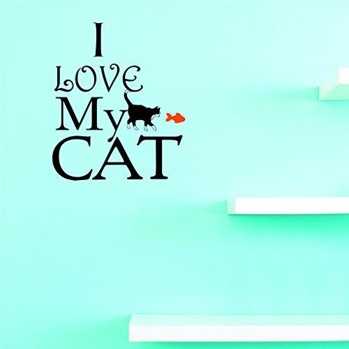 Motif Vinyle Avec 2 recharges de 2206 2 Hot nouveaux Stickers I Love My Cat Art mural Taille : 40,6 x 61 cm Couleur, 40,6 x 61 cm, Multi