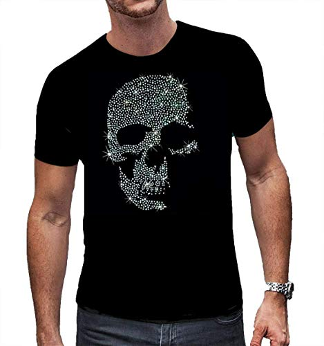 Herren T Shirt mit Strass Totenkopf