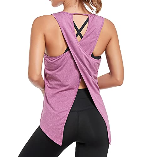 Sylanfia Yoga Camiseta sin Mangasde Fitness para Mujer Entrenamiento para Mujer Camisetas Gimnasia sin Mangas Espalda Abierta Ropa Deportiva Informal