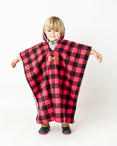 Kids Car Seat Poncho Toddler Boy Blanket Lumberjack Deer Reversible Warm OVER Seat Belts Buffalo Plaid
