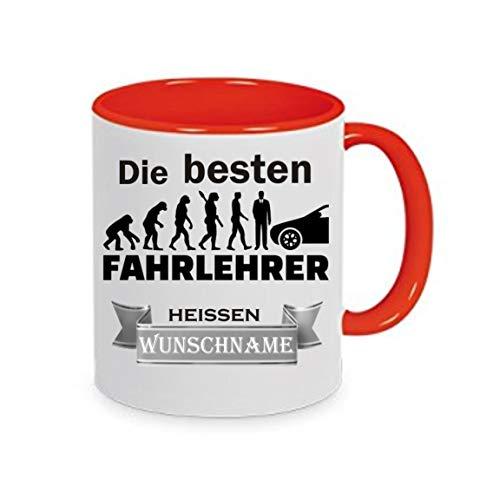 Crealuxe Tasse m. Wunschname Die besten Fahrlehrer heißen (Wunschname) - Kaffeetasse mit Motiv, Bedruckte Tasse mit Sprüchen oder Bildern