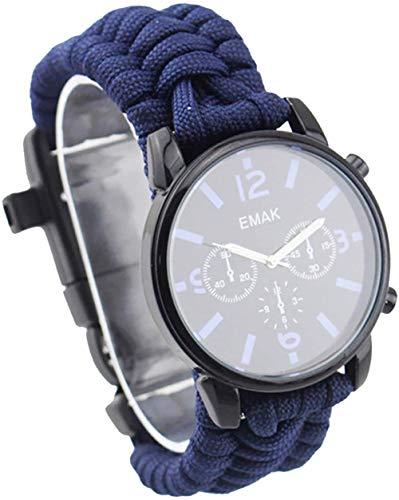 Outdoor Adventure Reloj multifunción, cuerda de siete núcleos, termómetro, silbato, brújula, impermeable y resistente a los golpes, color azul oscuro