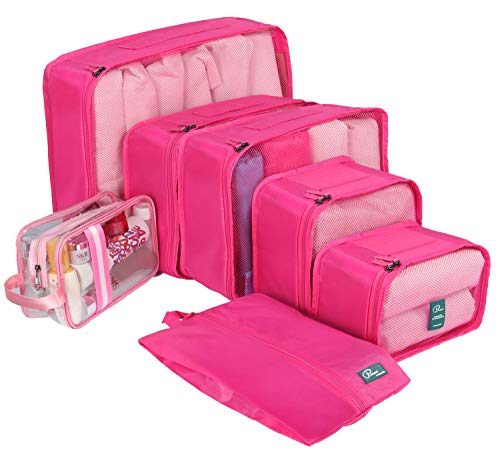 7 Set Packing Cubes-Large Capacity Travel Luggage Organizers with Shoe Bag & Toiletry bag-Pink