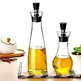 LLYY Botella de Aceite Dispensador Aceite y Pulverizador/Aceite Oliva Cristal Crudo Botella Cristal Para Cocinar 2 Piezas 500/250ml