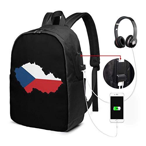 RROOT Unisex Rugzak met USB Opladen Poort Kaart in Kleuren van Tsjechië Klassieke Mode Algemene Zakelijke Boekenkaart