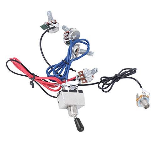 500K 2V2T1J Potenciómetro de guitarra eléctrica Conjunto de arnés de cableado de guitarra precableado Toma de interruptor de 3 vías para piezas de guitarra eléctrica(Negro)