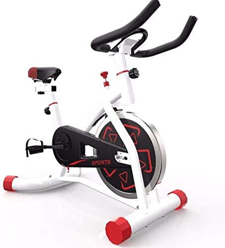 Bicicleta de spinning para interior, juego para casa, muy silenciosa, pequeña bicicleta estática, fitness, adecuada para gimnasia en casa, 91 x 58 x 101 cm, color blanco