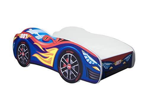 Autobett Pkw Burning Flame 70x140 cm Kinderbett blau mit Lattenrost und Matratze MDF beschichtet - mit Motivfolie beklebtes Spielbett für kleine Rennfahrer - Cooles Designbett mit leuchtenden Farben