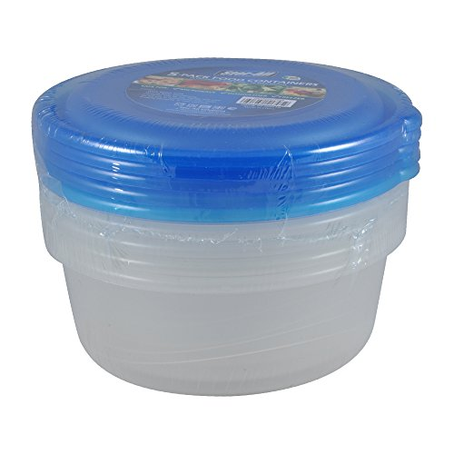 Stor-All Solutions Keepers Containers Round Food Storage Set, Large, Clear, 5 Piece