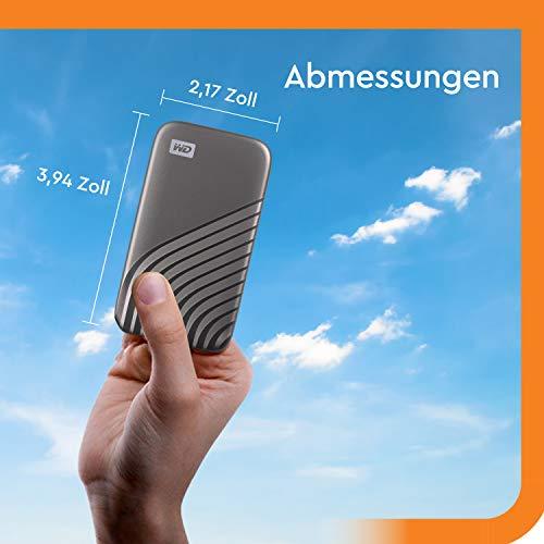 WD My Passport SSD 2 TB externe SSD (externe Festplatte mit SSD Technologie, NVMe-Technologie, USB-C und USB 3.2 Gen-2 kompatibel, Lesen 1050 MB/s, Schreiben 1000 MB/s) dunkelgrau - 3