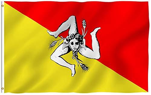 Anley Fly Breeze 3x5 Fuß Sizilien Flagge - Lebendige Farbe und UV-beständig - Leinwand Kopf- und Doppelnaht - Italien Sizilianische Flaggen Polyester mit Messingösen 3 x 5 Ft
