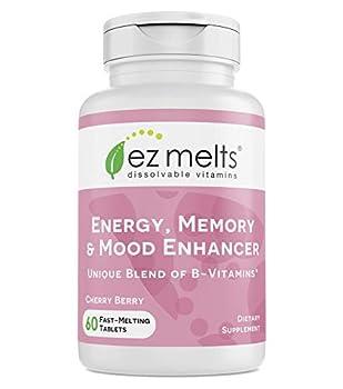 EZ Melts Energy Memory & Mood Enhancer Methylated B-Complex Sublingual Vitamins Vegan Zero Sugar Natural Cherry Flavor 60 Fast Dissolve Tablets