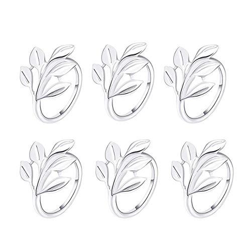 Napkin Ring, 6 Pcs Metal Napkin Holder for Wedding Party Dinner Table Decoration (6 PCS-LEAF,SILVER)