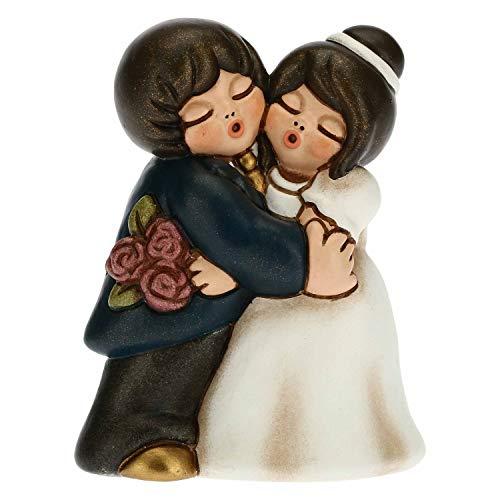 THUN - Bomboniera Coppia di Sposini Abbracciati con Bouquet - Bomboniere Matrimonio - Linea Bomboniere - Formato Piccolo - Ceramica - 5,7 x 4,3 x 5,1 h cm