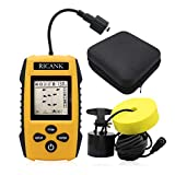 RICANK Portable Fish Finder with Hard Travel Case, Contour Readout Handheld Fishfinder Depth with Sonar Sensor Transducer and LCD Display Sensitivity Options Fish Depth Finder with Fishfinders Case