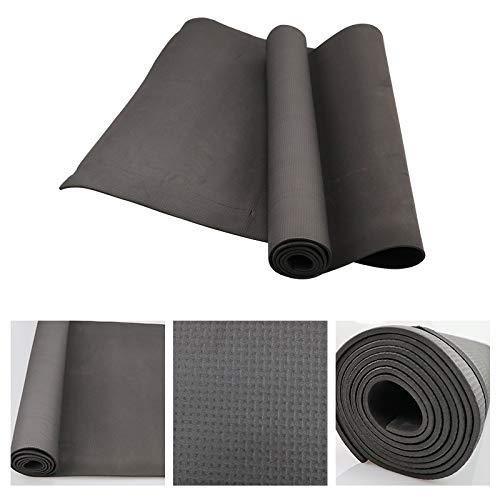 weichuang Esterilla de PVC antideslizante para yoga de PVC, para deportes, salud, pérdida de peso, fitness, fitness, esterilla de yoga (color: negro)