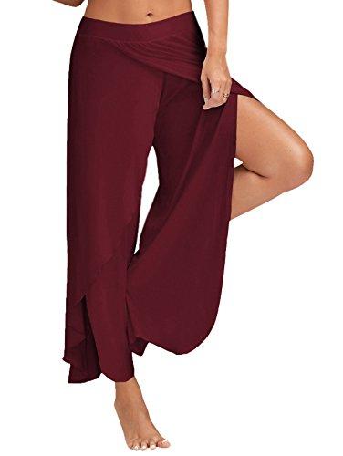 Minetom Mujer Casual Color Sólido Delgado De Pantalones De Pierna Ancha Cintura Elástica Holgados Flojos Yoga Fitness División Pants Ejército