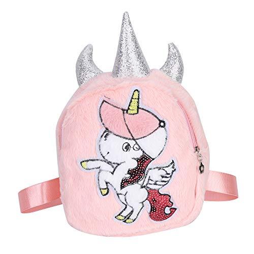 YIFengFurun Mochila de felpa súper linda para niños, niños y niñas, bolso escolar lindo rosa