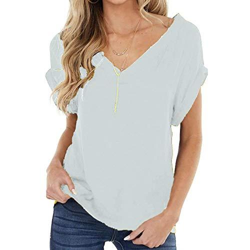 YANFANG Camisetas Mujer Originales De Manga Corta con Cuello En V Y Blusas Sueltas para Mujer,Blusa Primavera 2021,Camisas Estampadas,Blanco,M
