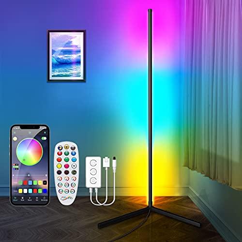 156CM Lámpara de Pie LED Bluetooth, CGN RGB Lámpara LED Regulable Sala de Estar Esquina de Pie Lámpara d'Ambiente Moderna Multicolor con Control Remoto y Aplicación Decoración salón o dormitorio