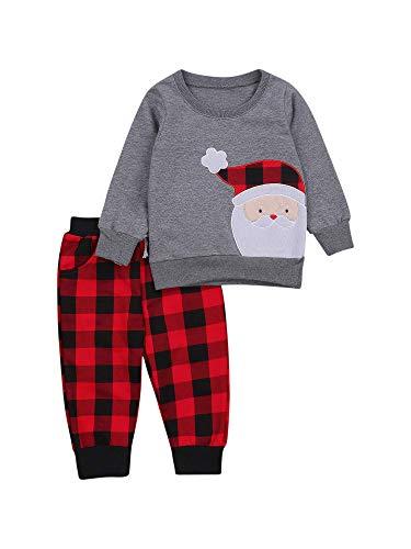 MAI Conjunto de pantalones de Navidad de manga larga para niño con dibujos animados de Papá Noel, sudadera con camiseta y pantalones largos elásticos clásicos a cuadros