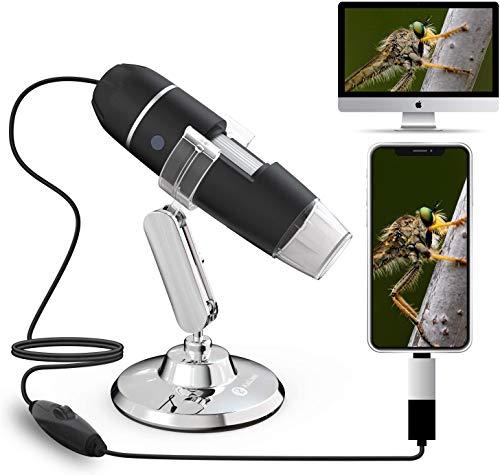 USB-Mikroskop 40x bis 1000x Vergrößerung Endoskop Hauttest-Minikamera mit OTG-Adapter und Metallständer, kompatibel mit Window 7 8 10 Android Linux
