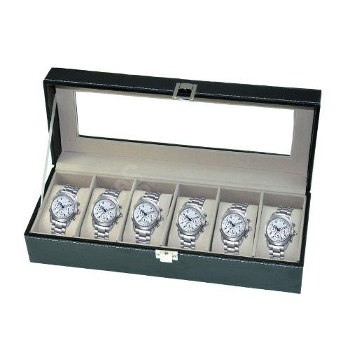 Horloge Box Grote mannen Zwart Lederen Display Glas Top Sieraden Case Organizer