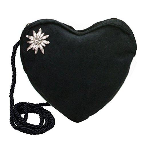 Alpenflüstern Trachtenset Trachten-Samt-Kropfband und Herztasche Strass-Edelweiß - Damen-Trachten-Schmuck und Trachtentasche, elastische Trachtenkette und Dirndltasche schwarz SET034 - 2