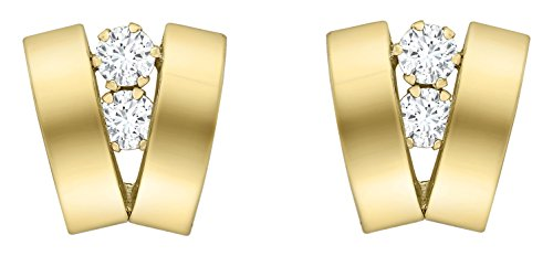 Carissima Gold Women's 9 ct Yellow Gold Cubic Zirconia Two Band V-Shaped Earrings