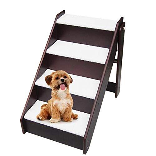 Escalera de Mascota Portátil Madera Rampa Sofá Alto/Cama Alta/Coches, Escaleras Plegables para Perros De 4 Escalones/Escaleras para Perros Pequeños/Medianos/G
