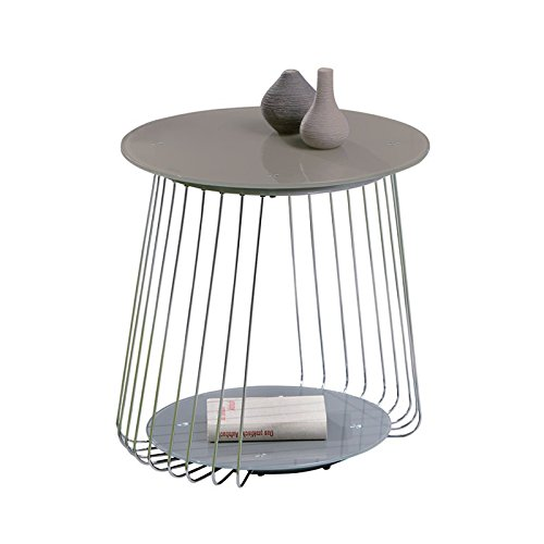 Paris Prix - Table Basse Design en Verre Raza 50cm Taupe