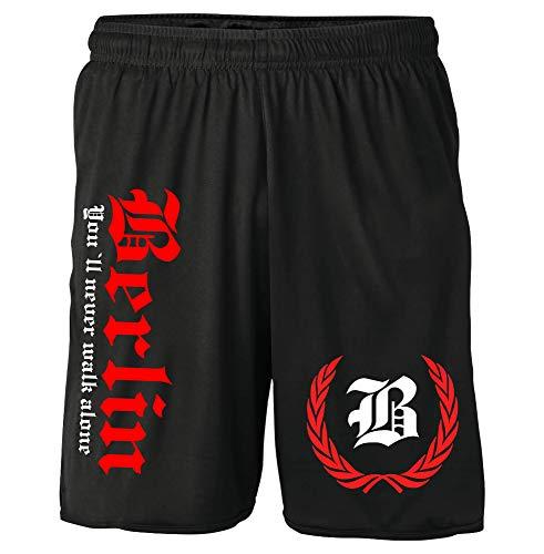 Berlin Kranz Shorts | Fussball Sport Ultras Kurze Hose Sporthose (L, Berlin Kranz M2 Druck: Rot)