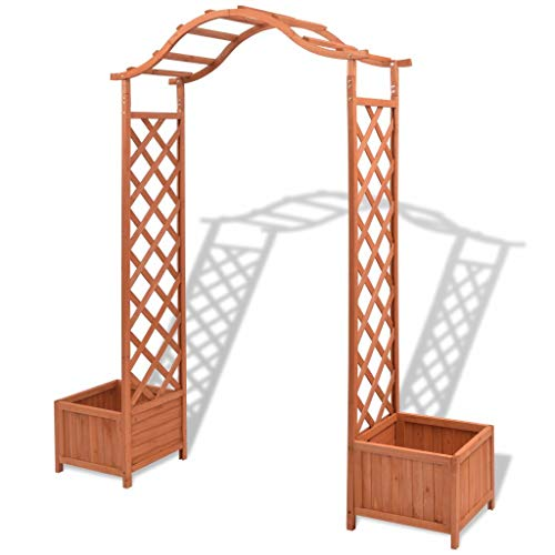 Lechnical Trellis Rose Arch, Trellis Rose Arch with Planters Garden Arch Solid Wood Outdoor Wooden Garden Arch Trellis Pergola Outdoor Patio Plant 70.9'x15.7'x80.7'